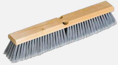 "18"" GRAY FLAGGED PUSH BROOM W/ WOOD BLOCK-1 EACH"