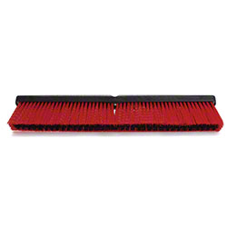 "24"" RED/BLACK POLY TWIN FILL PUSH BROOM W/ FOAM BLOCK"