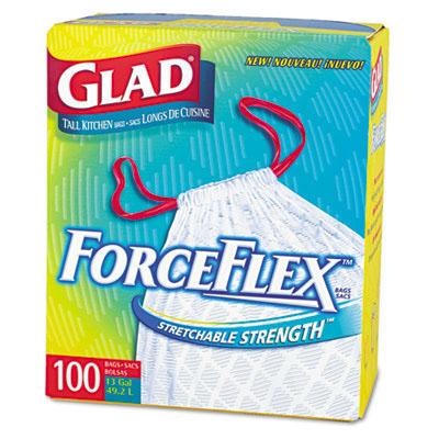 24 X 28 GLAD FORCE FLEX WHITE DRAWSTING .95 MIL 13 GAL. TALL KITCHEN BAGS 100/CS