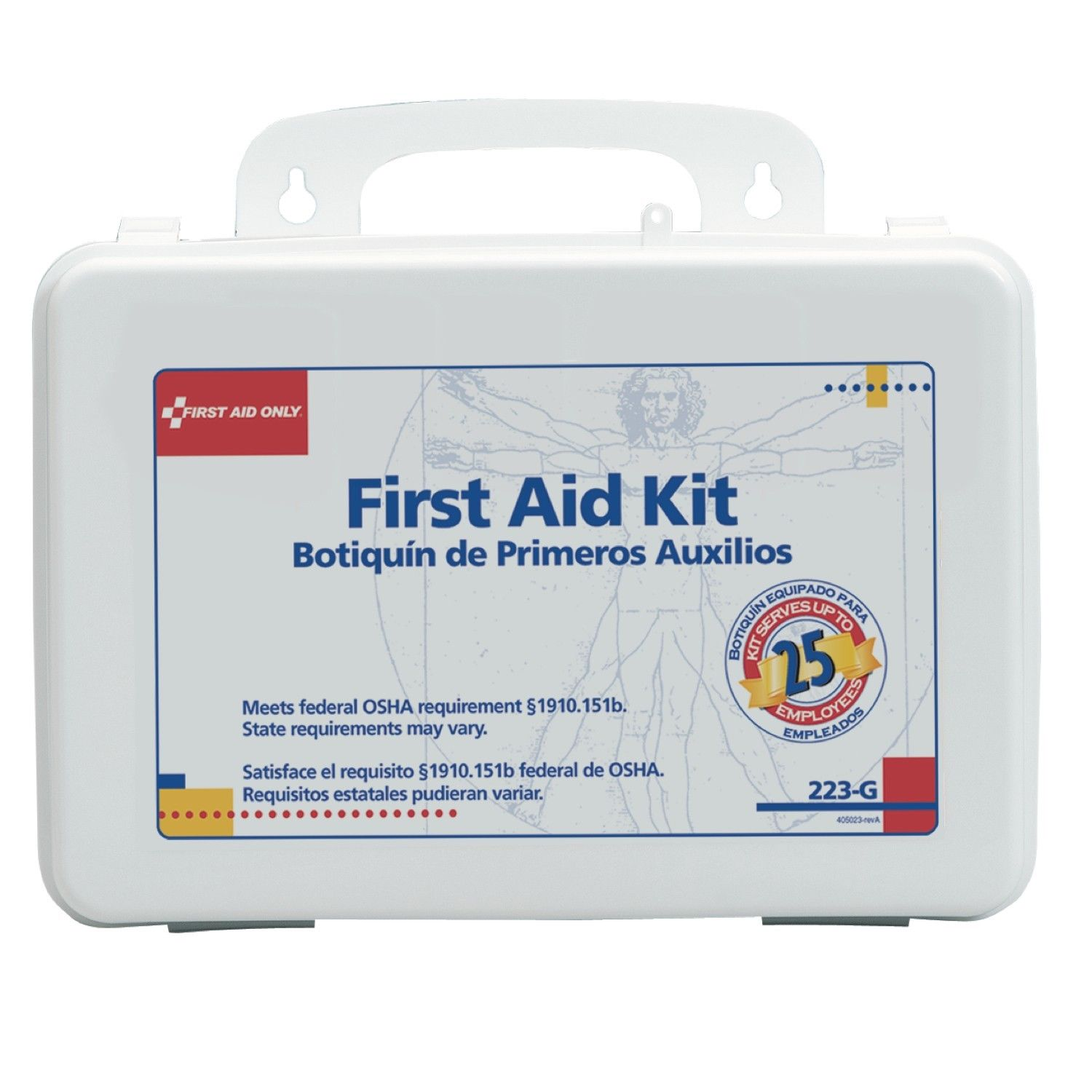 25 PERSON WHITE PLASTIC FIRST AID KIT W/GASKET-1 KIT