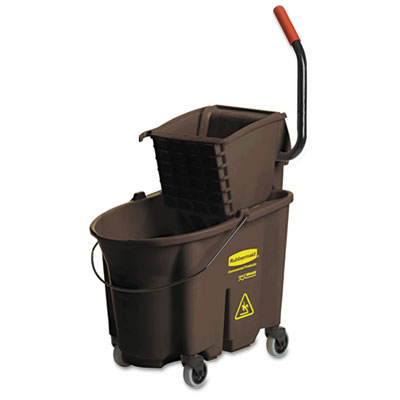 BROWN 35 QT. WAVEBRAKE MOP BUCKET COMBO/W/ SIDE PRESS WRINGER