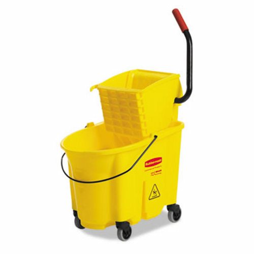 YELLOW 35 QT.  WAVEBRAKE MOP BUCKET COMBO W/ SIDE PRESS WRINGER-1 EACH