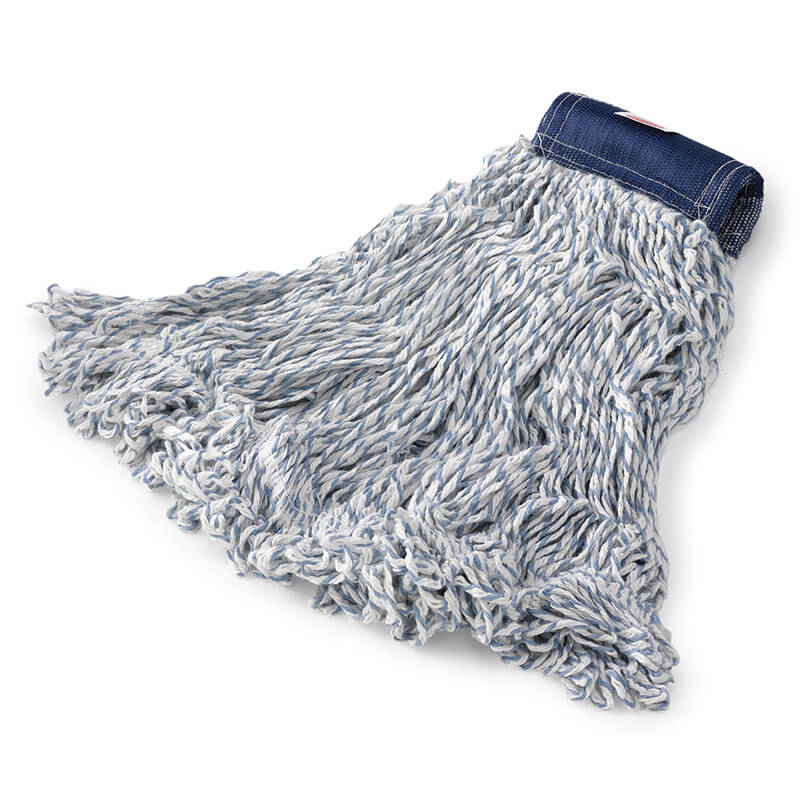 FINISH MOP HEAD 4 PLY  MEDIUM BLUE/ WHITE - 1 EACH